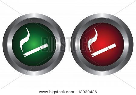 Two buttons with a cigarette