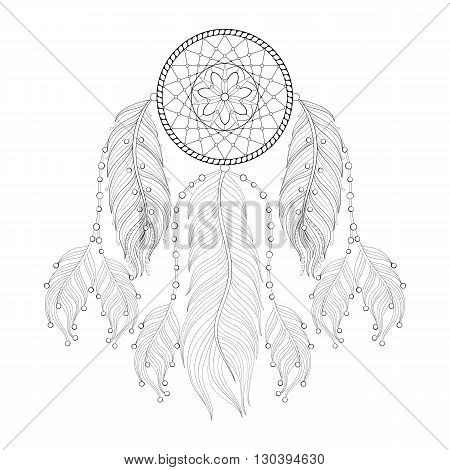 Hand drawn zentangle Dream catcher with mehendi mandala for adult coloring pages, post card, t-shirt print, Boho style. Isolated illustration in doodle, henna tattoo design.