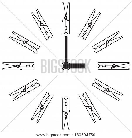 Wall clock with arrows. Watch the scale of the clothespin. Design clock laundry or shop decoration.