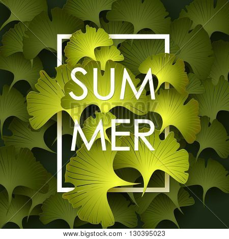 Summer Time poster. Text with frame on green leaves background. Trendy vector illustration.