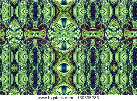 Oriental patterns - the language of the soul The picture shows the oriental patterns mainly on green background.