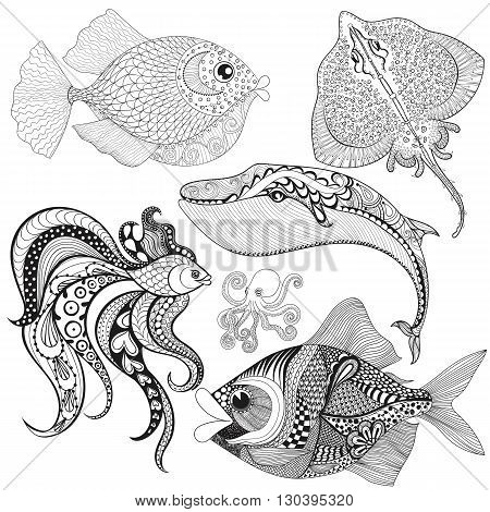 Hand drawn zentangle Fishes, Whale, Octopus, Stingray for adult anti stress coloring pages, mehendi t-shirt print, logo icon. Isolated sea animals set, illustration in doodle, boho style, henna tattoo design.