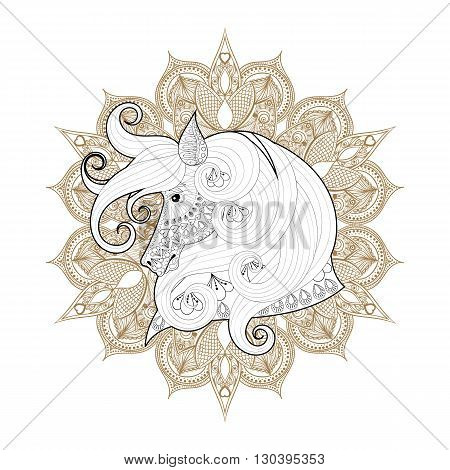 Hand drawn zentangle Ornamental Horse on mehendi mandala for adult coloring pages, post card, t-shirt print, Horse logo icon. Isolated animal illustration in doodle, boho style, henna tattoo design.