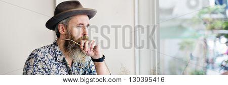 Writer Bar Counter Beard Mustache Lifestyle Concept