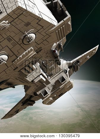 Science fiction illustration of an interplanetary spaceship leaving orbit around an alien planet, close up view, 3d digitally rendered illustration (3d rendering, 3d illustration)