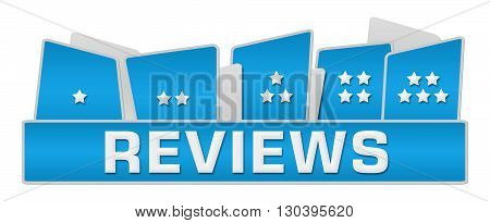 Reviews concept image with text and one to five stars.