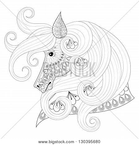 Hand drawn zentangle Ornamental Horse for adult coloring pages, post card, mehendi t-shirt print,  logo icon. Isolated animal illustration in doodle, boho style, henna tattoo design.