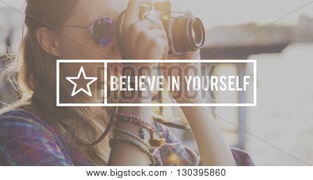 Believe in Yourself Self Esteem Confidence Optimistic Concept