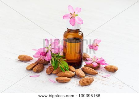Almond oil in a small bottle almond flowers and nuts.