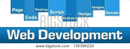 Web development text with related keywords over blue background.