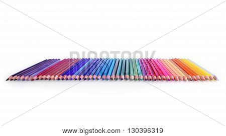 line of colored pencils On a white background