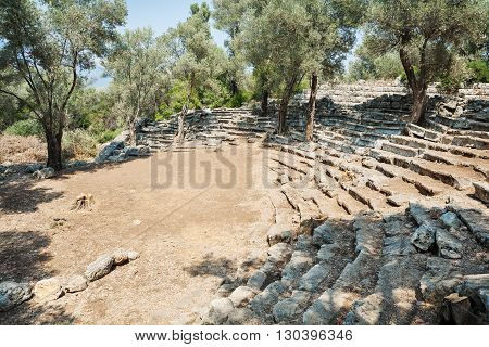 Ruins of the antique greek theatre Kedrai Sedir islandGulf of Gokova Aegean Sea Turkey