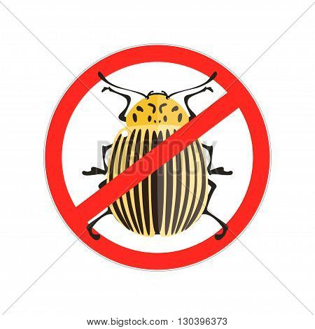 Vector illustration of a colorado beetle. Red Prohibition sign. Isolated on a white background.