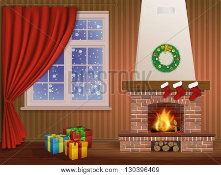 Christmas interior with a fireplace gifts and window