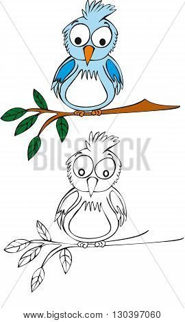Illustration of blue cartoon cute little bird