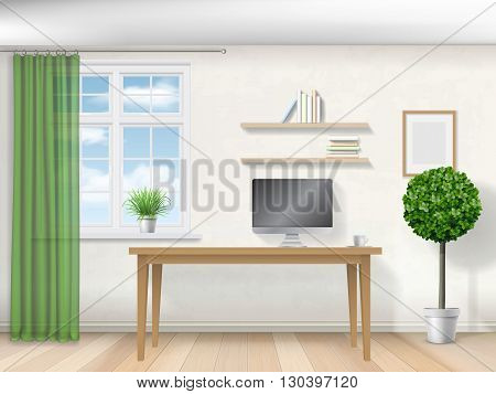 Realistic vector interior with a workplace computer and window with a curtain.