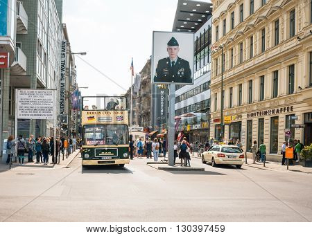 BERLIN, GERMANY- May 18: Checkpoint Charlie. Former bordercross in Berlin on May 18, 2016. Berlin Wall crossing point between East and West Berlin during the Cold War. BERLIN, GERMANY