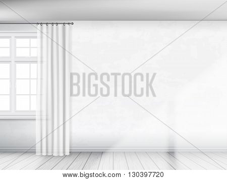 A white wall with a window and curtains. Partial view of interior. Architectural realistic vector background.