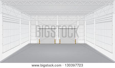 Interior of factory with shutter door, gray color.