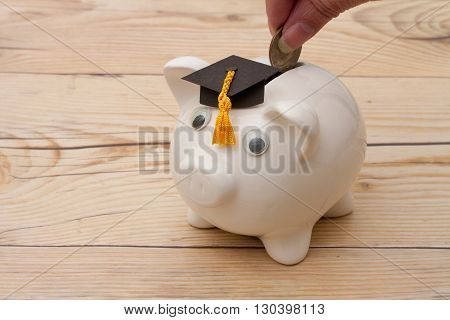 Added to your Educational Saving A white piggy bank with grad cap on weathered wood