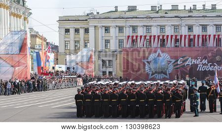 St. Petersburg, Russia - 9 May, Build troops before the parade, 9 May, 2016. Festive military parade on the Palace Square in St. Petersburg.