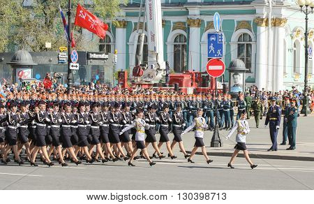 St. Petersburg, Russia - 9 May, Division of military women, 9 May, 2016. Festive military parade on the Palace Square in St. Petersburg.