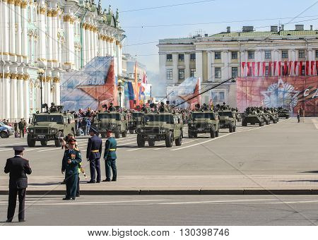 St. Petersburg, Russia - 9 May, Division light armored vehicles on the Victory Parade, 9 May, 2016. Festive military parade on the Palace Square in St. Petersburg.