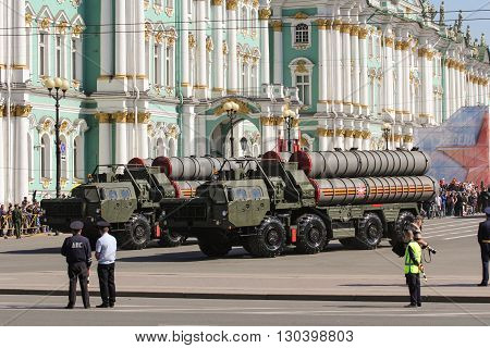 St. Petersburg, Russia - 9 May, Strategic missile systems on the Victory Parade, 9 May, 2016. Festive military parade on the Palace Square in St. Petersburg.