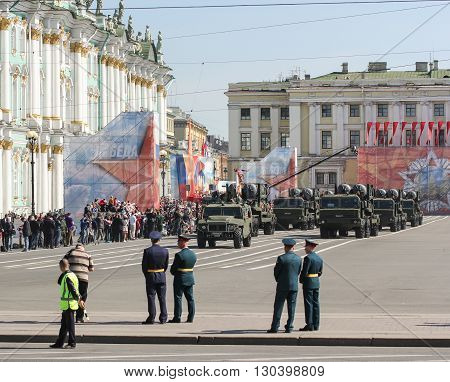St. Petersburg, Russia - 9 May, Division of strategic missile systems in Victory celebration, 9 May, 2016. Festive military parade on the Palace Square in St. Petersburg.