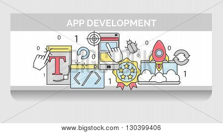 Scribble header banner template illustration for mobile application development stages and terms. UI and graphic design project management coding beta testing and other.