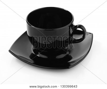 Black empty cup of coffee isolated on white background