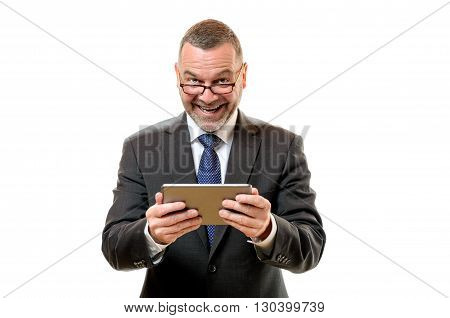 Happy Satisfied Businessman Holding A Tablet