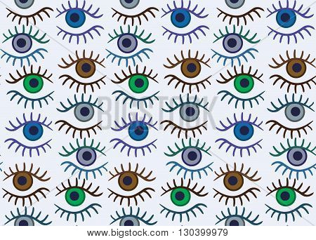 Eye silhouette seamless pattern. Stylish trend design for surface