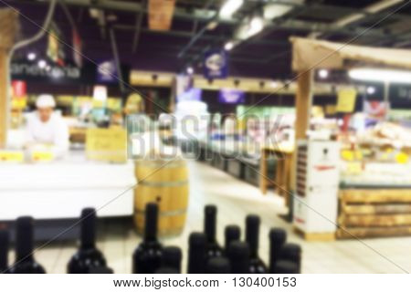 supermarket background with an intentional blur effect