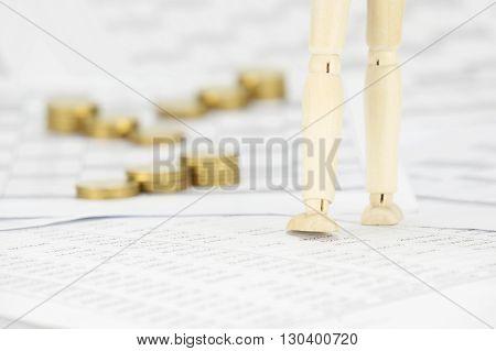 Wooden Dummy Walk Have Blur Step Gold Coins As Background
