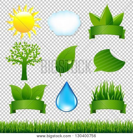 Nature Icons Set, Isolated on Transparent Background, Vector Illustration