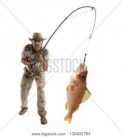 Fisherman with big fish - perch (Perca fluviatilis) isolated on white