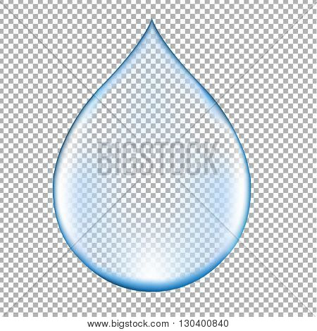Realistic Blue Water Drop, Isolated on Transparent Background, With Gradient Mesh, Vector Illustration