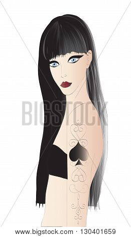 Beautiful goth girl  with tattoo, big scarlet lips - vector illustration