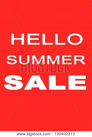 The words Hello Summer Sale on red background