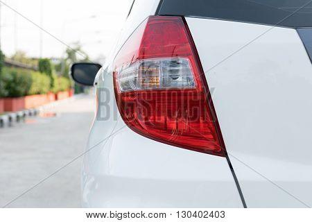 Closeup of car taillight, auto, automobile, back,