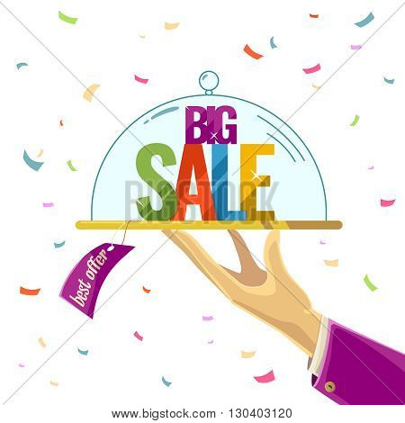 Vector illustration of an Advantageous offer in a cartoon style on a light background. Big sale. Illustration for advertising design and web.