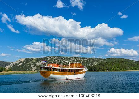 Skradin Croatia - May 05 2016: tour boat on Krka