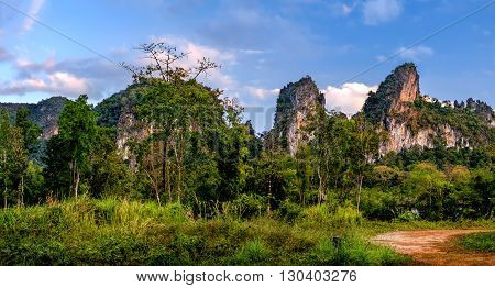 Landscape with the cloud sky and turbulent dense vegetation Khao Sok National Park Surat Thani Province Thailand.
