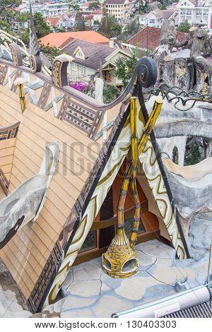 Fairytale castle with lens flare in public cultural park, Eskisehir