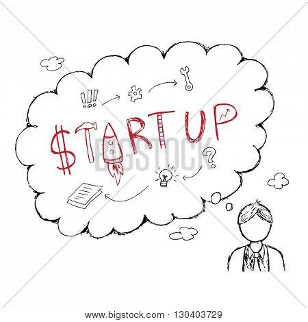 Business guy think of start up project in a speech bubble hand drawn