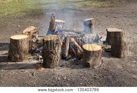 A Beautiful Warming Outdoor Wood Log Fire.