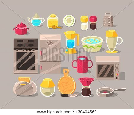 Kitchen Interior Elements Set Of Bright Color Simplified Style Vector Icons Isolated On Grey Background