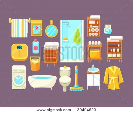 Bathroom Interior Elements Set Of Bright Color Simplified Style Vector Icons Isolated On Purple Background