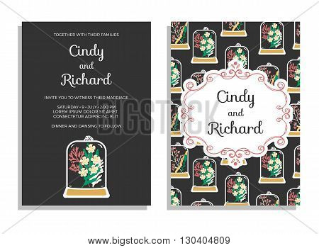 Wedding invitation, save the date cards. Vector illustration of floral terrariums with classic frame. Plant pendant with dried flowers, moss and berries on dark background.
